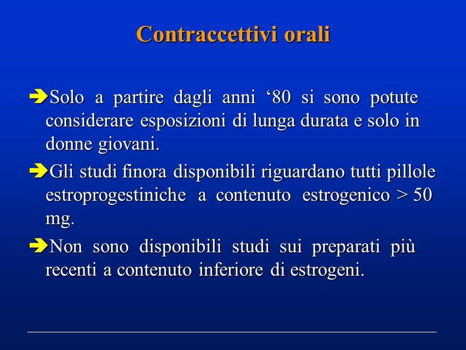 Contraccettivi orali Solo a partire dagli anni '80 si sono potute considerare esposizioni di lunga durata e solo in donne giovani.