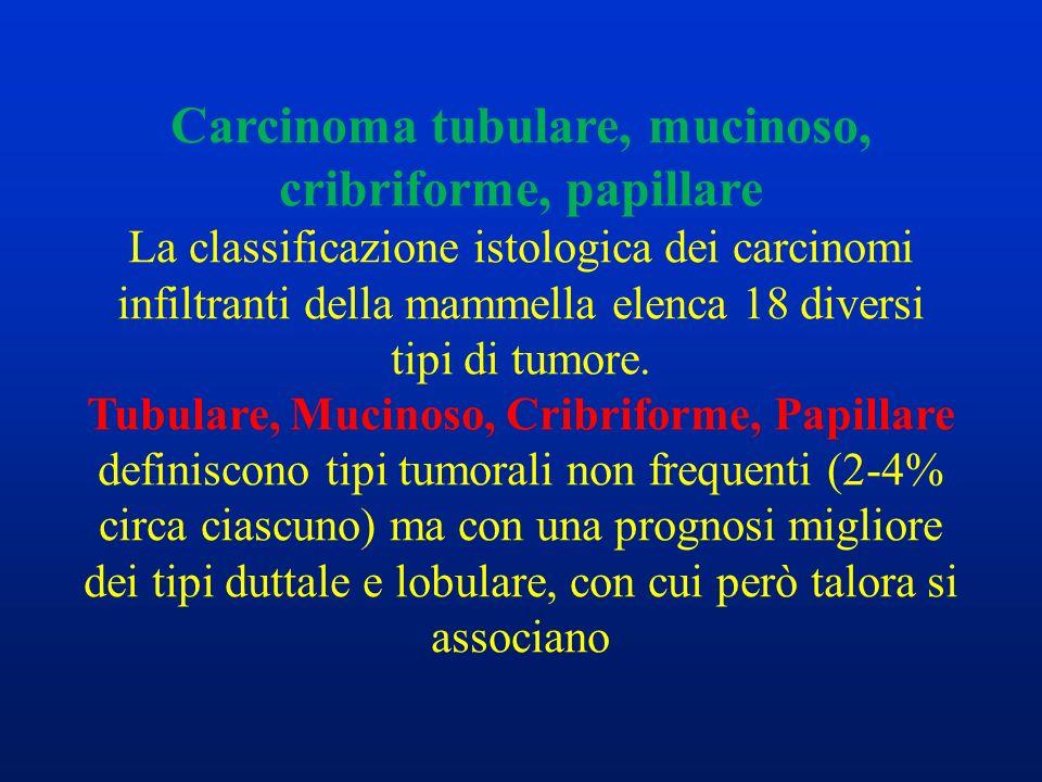 Carcinoma tubulare, mucinoso, cribriforme, papillare La classificazione istologica dei carcinomi infiltranti della mammella elenca 18 diversi tipi di tumore.
