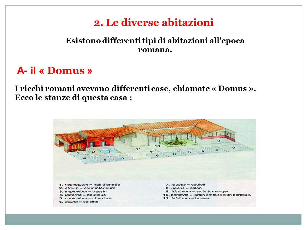 Esistono differenti tipi di abitazioni all epoca romana.