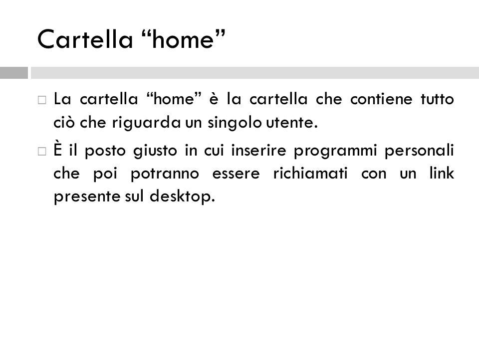 Cartella home La cartella home è la cartella che contiene tutto ciò che riguarda un singolo utente.