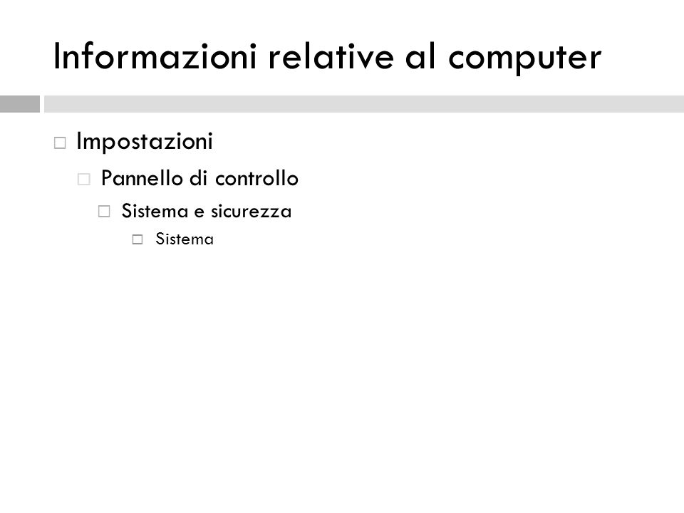 Informazioni relative al computer