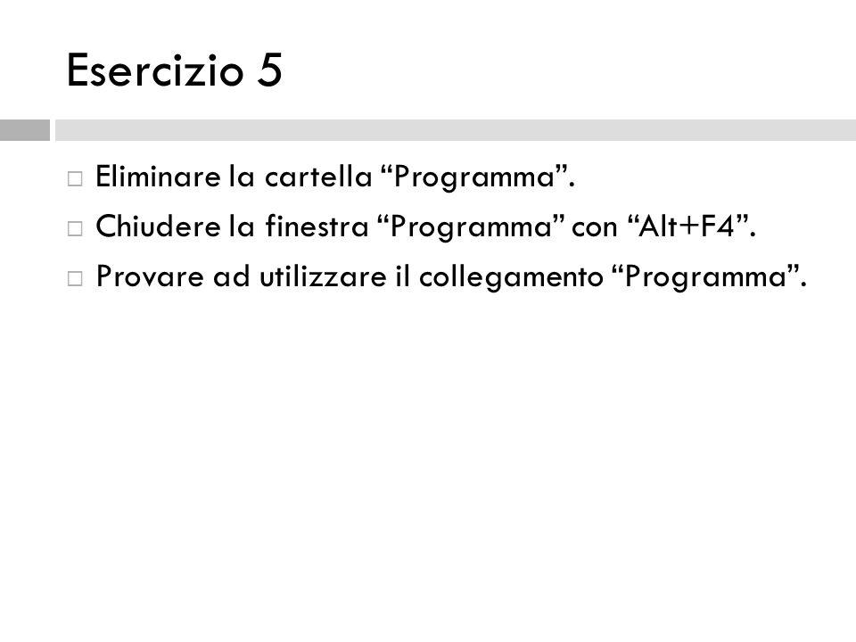 Esercizio 5 Eliminare la cartella Programma .