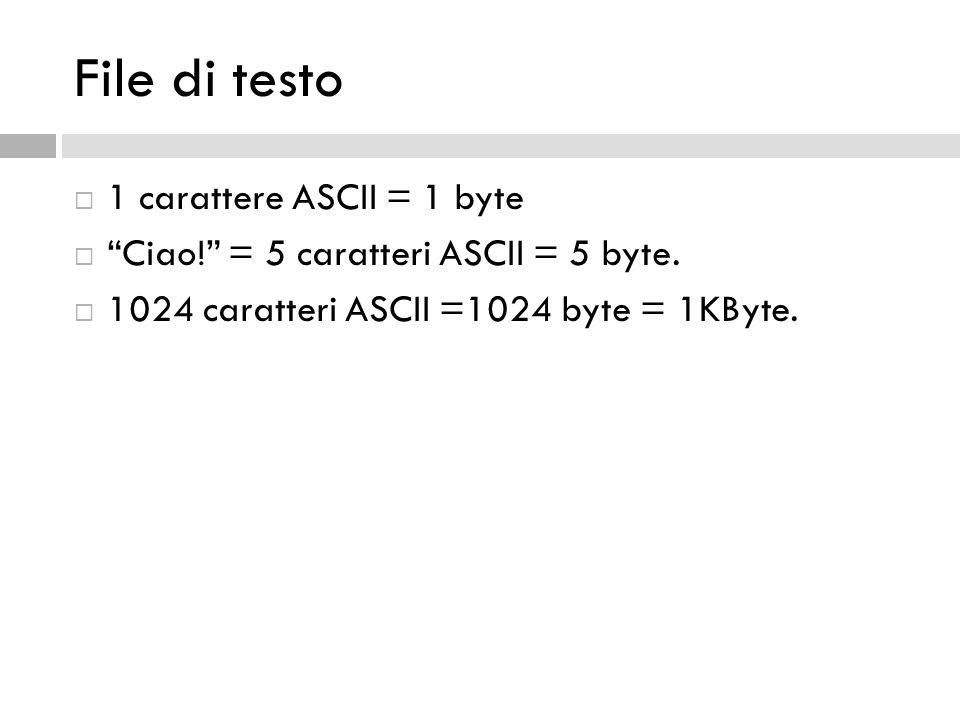 File di testo 1 carattere ASCII = 1 byte