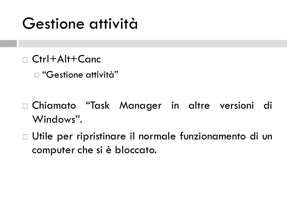 Gestione attività Ctrl+Alt+Canc