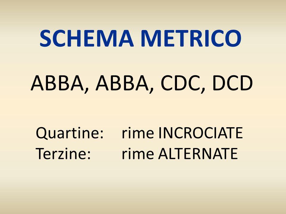 SCHEMA METRICO ABBA, ABBA, CDC, DCD Quartine: rime INCROCIATE