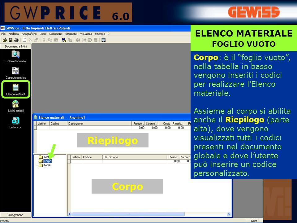 6.0 Riepilogo Corpo ELENCO MATERIALE FOGLIO VUOTO