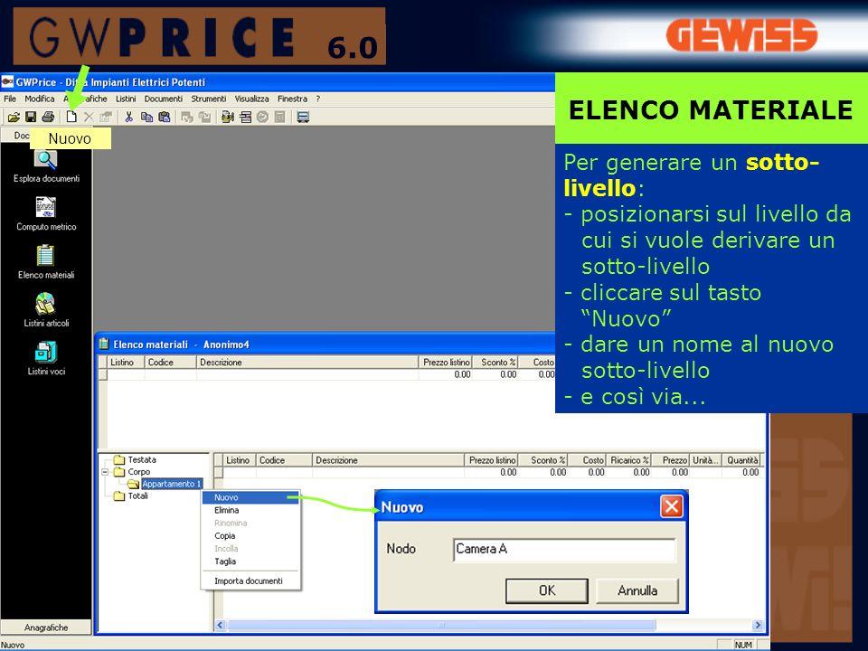6.0 ELENCO MATERIALE Per generare un sotto-livello:
