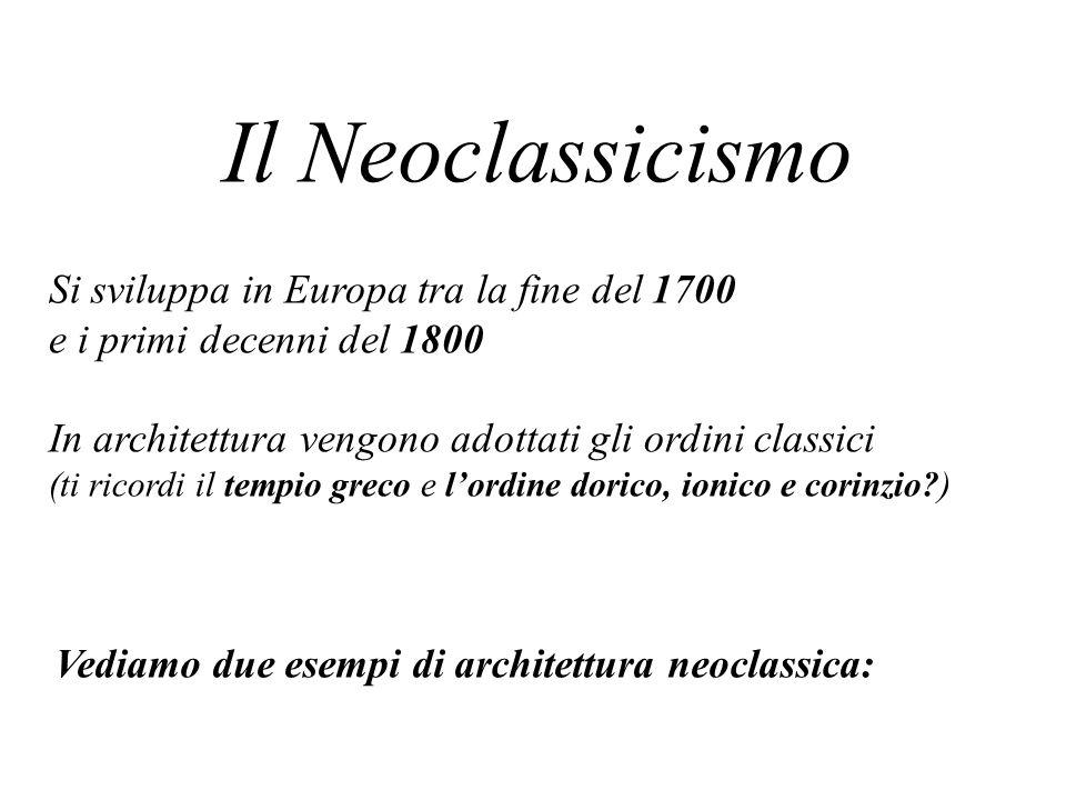 Il Neoclassicismo Si sviluppa in Europa tra la fine del 1700