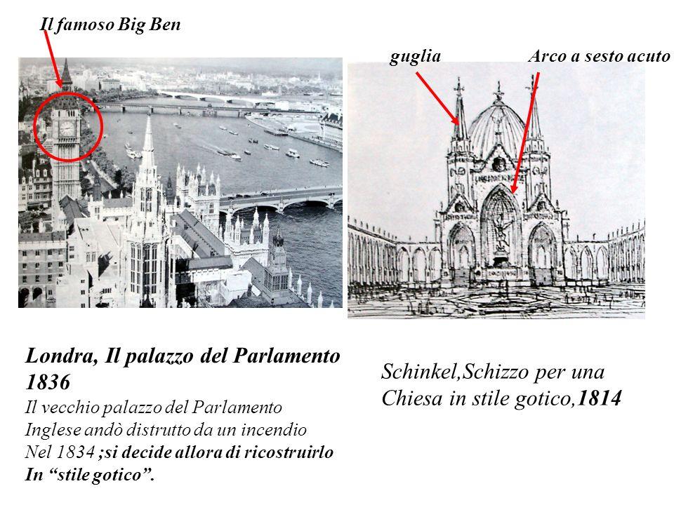 Londra, Il palazzo del Parlamento 1836 Schinkel,Schizzo per una