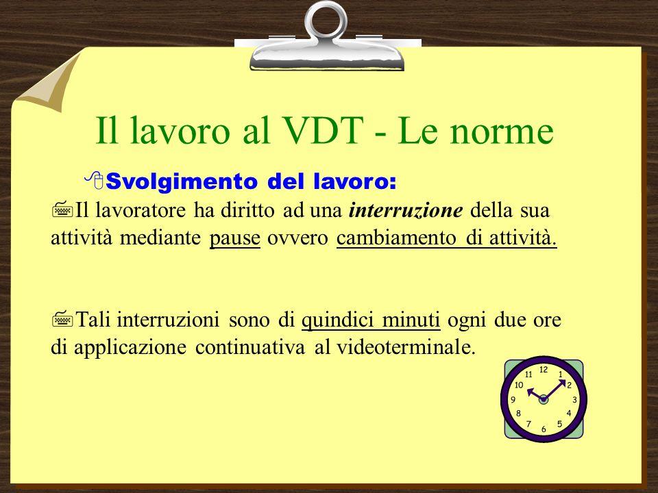 Il lavoro al VDT - Le norme