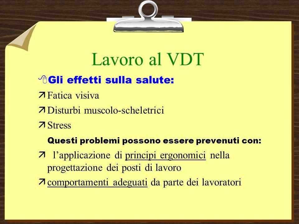 Lavoro al VDT Gli effetti sulla salute: Fatica visiva