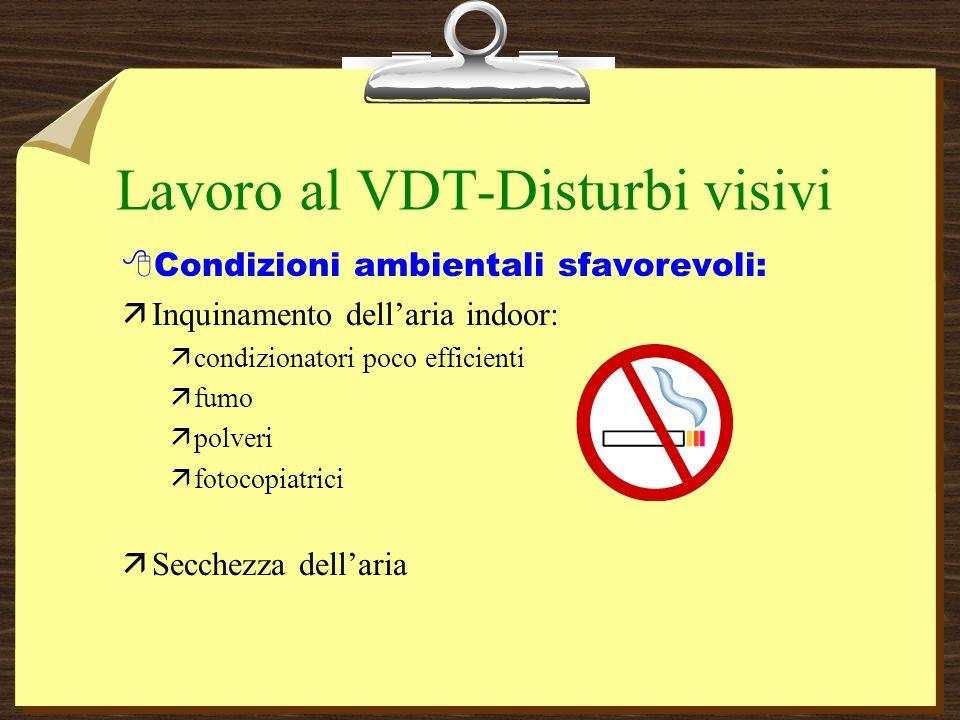 Lavoro al VDT-Disturbi visivi