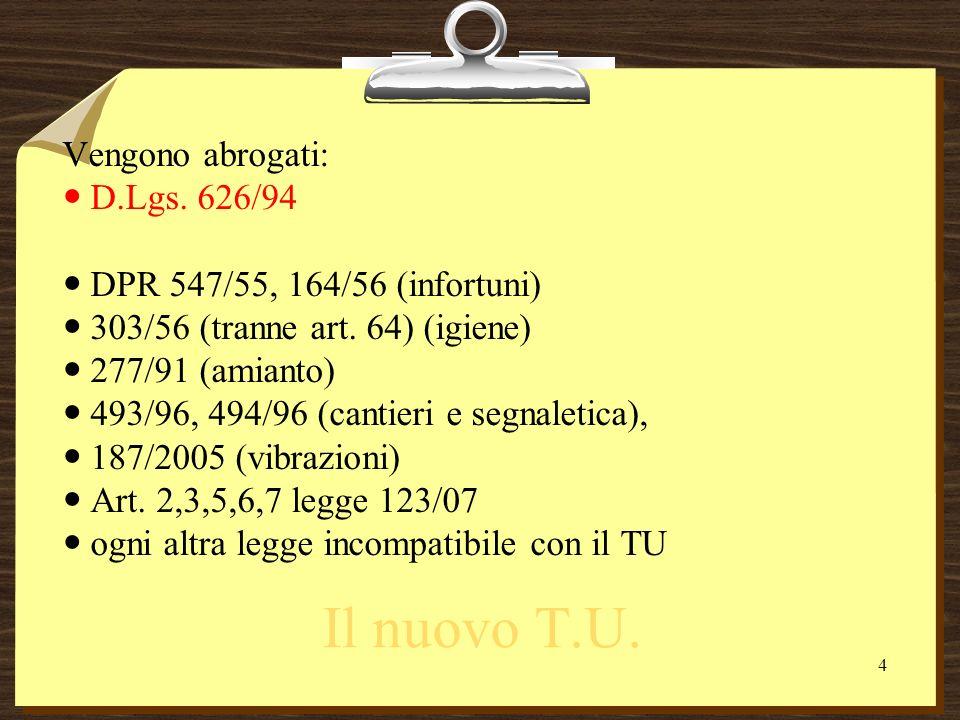 Il nuovo T.U. Vengono abrogati: D.Lgs. 626/94