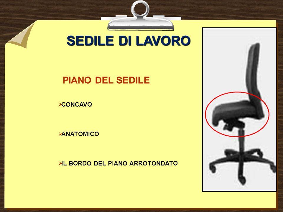 SEDILE DI LAVORO PIANO DEL SEDILE CONCAVO ANATOMICO