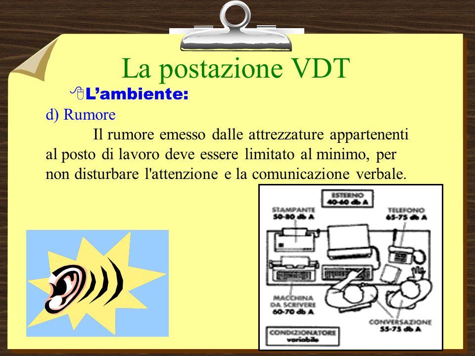 La postazione VDT L'ambiente: d) Rumore