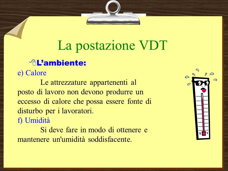 La postazione VDT L'ambiente: e) Calore