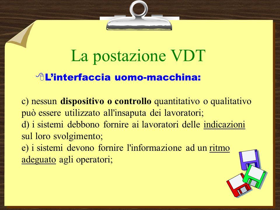 La postazione VDT L'interfaccia uomo-macchina: