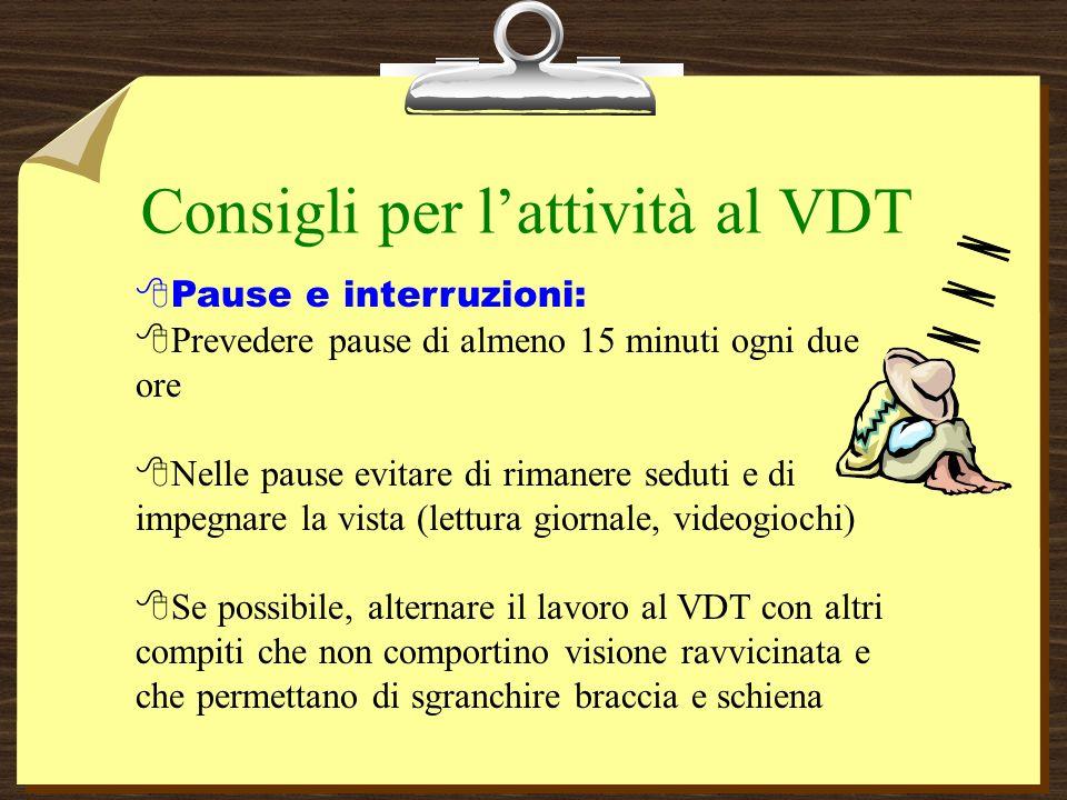 Consigli per l'attività al VDT