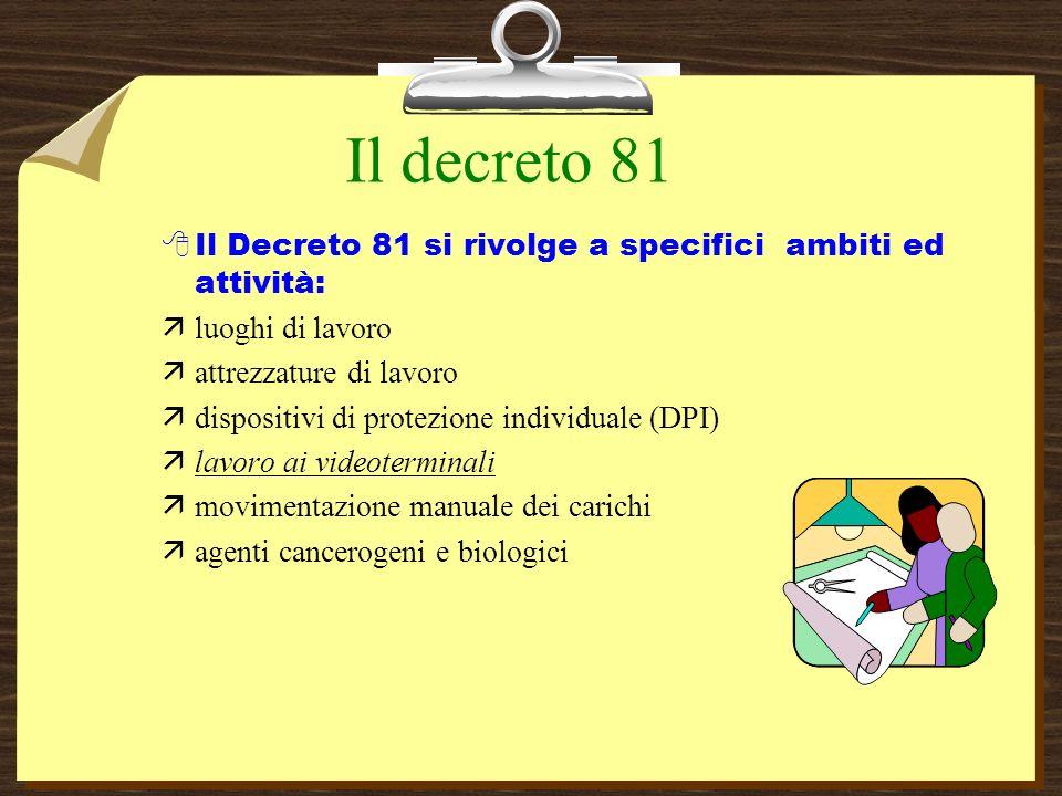 Il decreto 81 Il Decreto 81 si rivolge a specifici ambiti ed attività:
