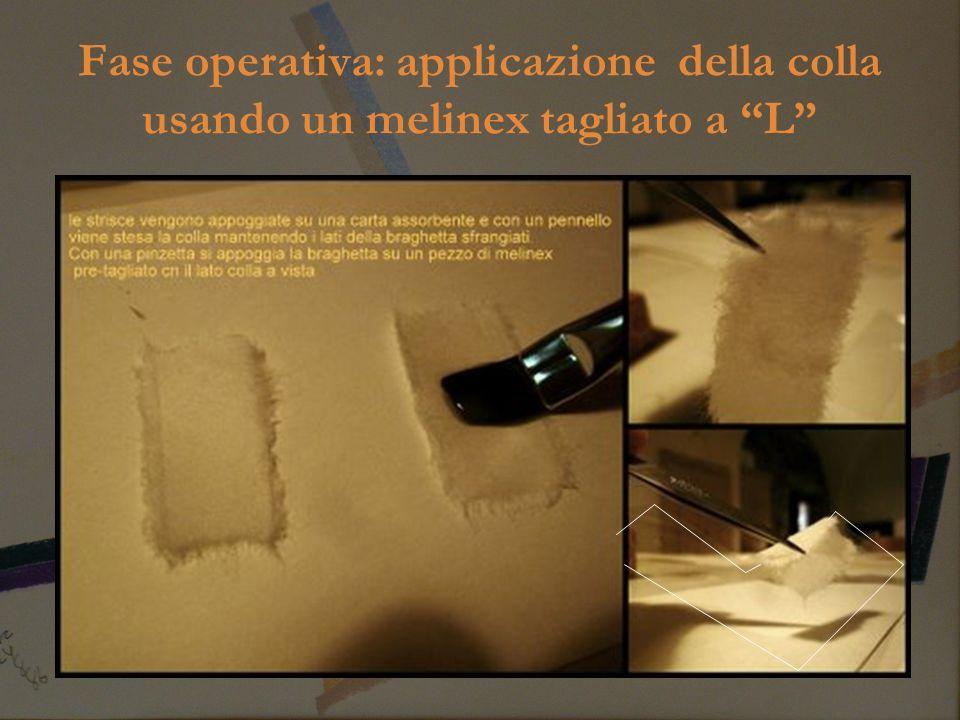 Fase operativa: applicazione della colla usando un melinex tagliato a L