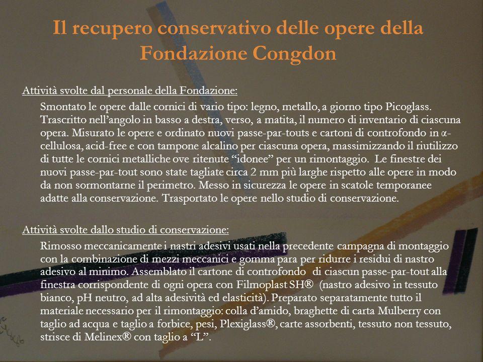 Il recupero conservativo delle opere della Fondazione Congdon