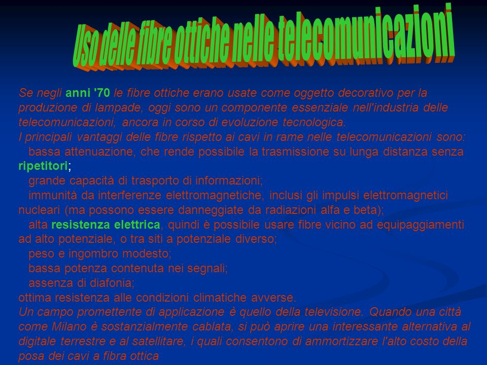 Uso delle fibre ottiche nelle telecomunicazioni