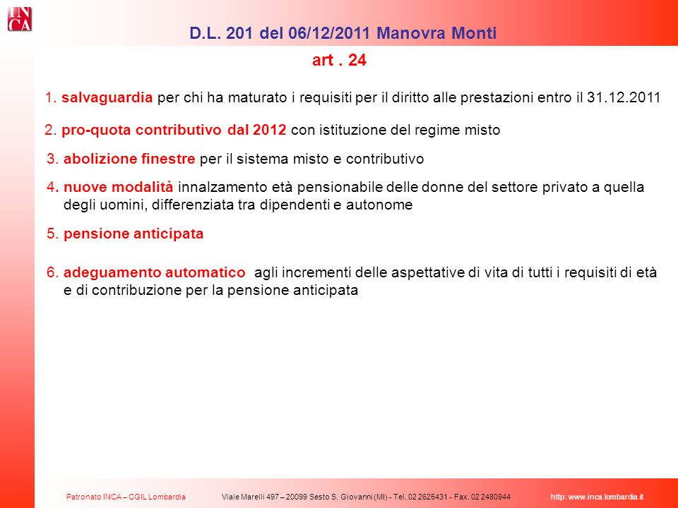 D.L. 201 del 06/12/2011 Manovra Monti art . 24
