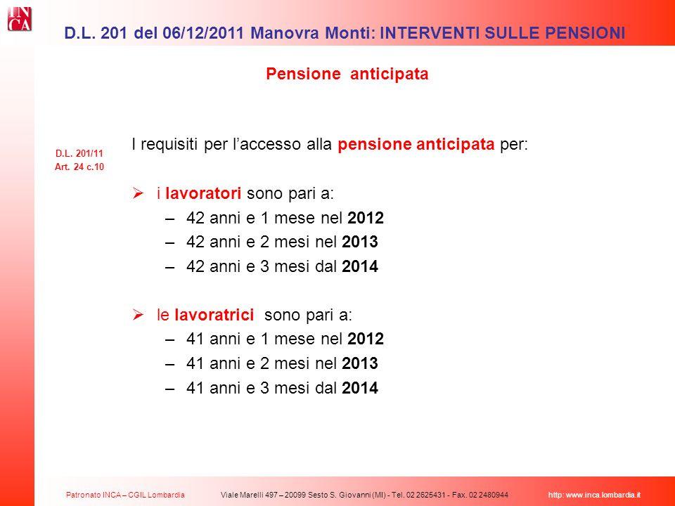 D.L. 201 del 06/12/2011 Manovra Monti: INTERVENTI SULLE PENSIONI