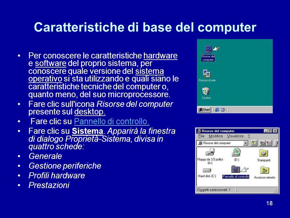 Caratteristiche di base del computer