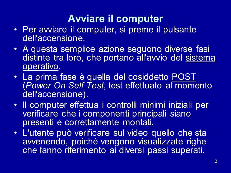 Avviare il computer Per avviare il computer, si preme il pulsante dell accensione.