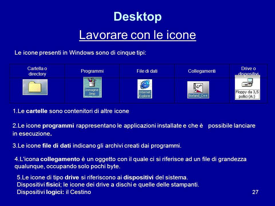 Desktop Lavorare con le icone