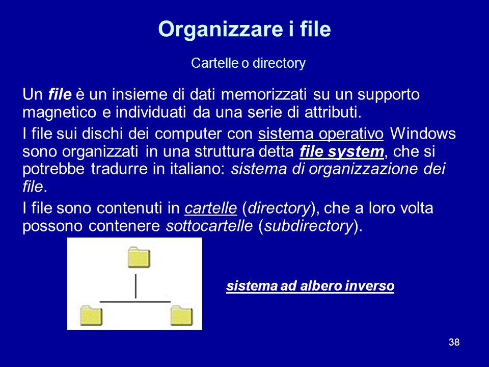 Organizzare i file Cartelle o directory