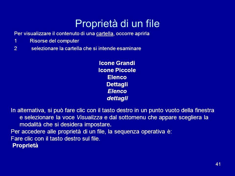Proprietà di un file Icone Grandi Icone Piccole Elenco Dettagli