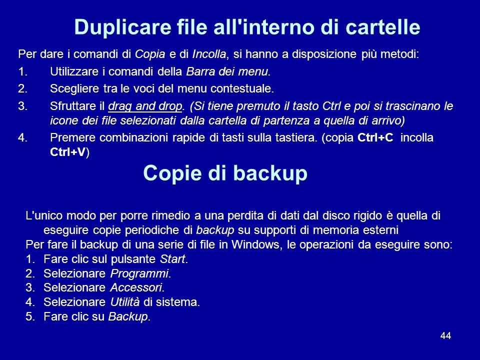 Duplicare file all interno di cartelle