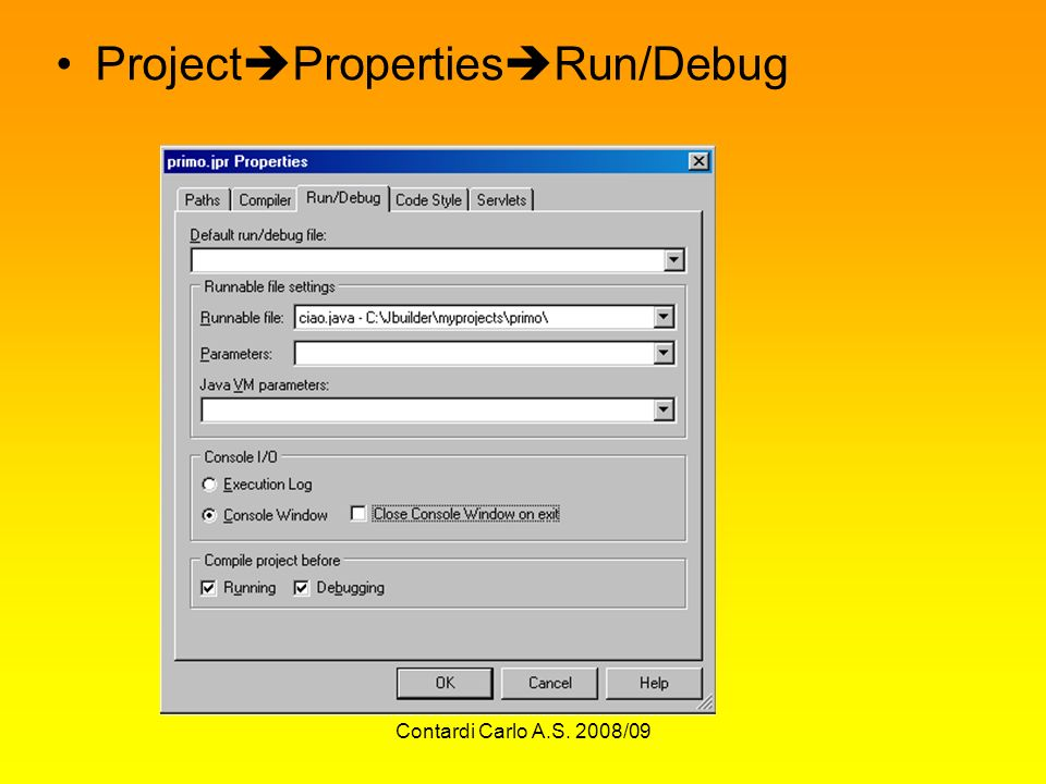 ProjectPropertiesRun/Debug