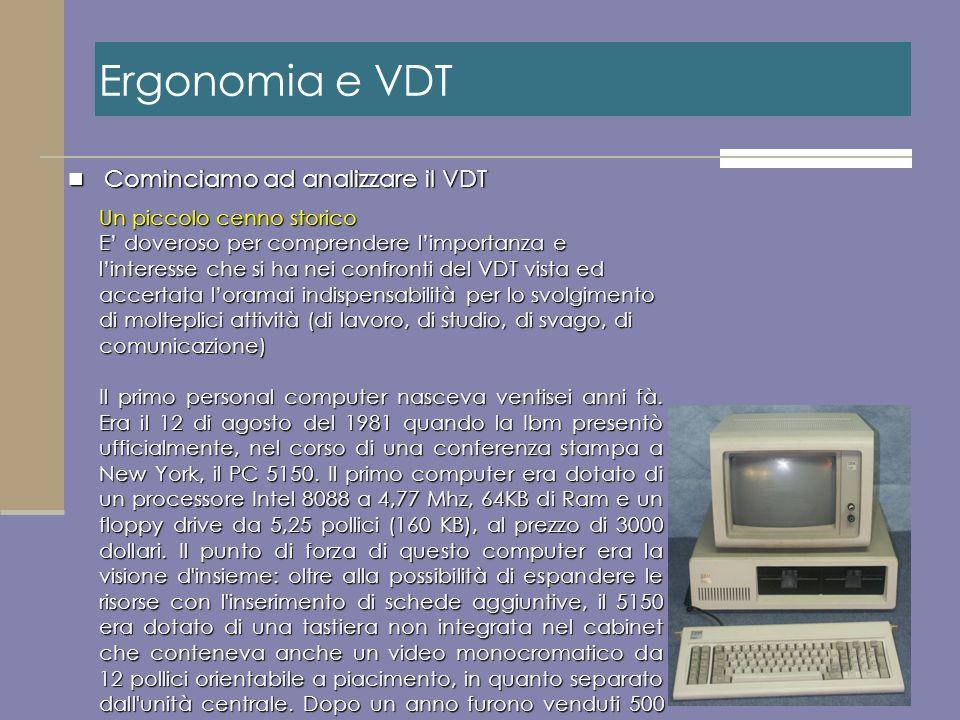 Ergonomia e VDT Cominciamo ad analizzare il VDT