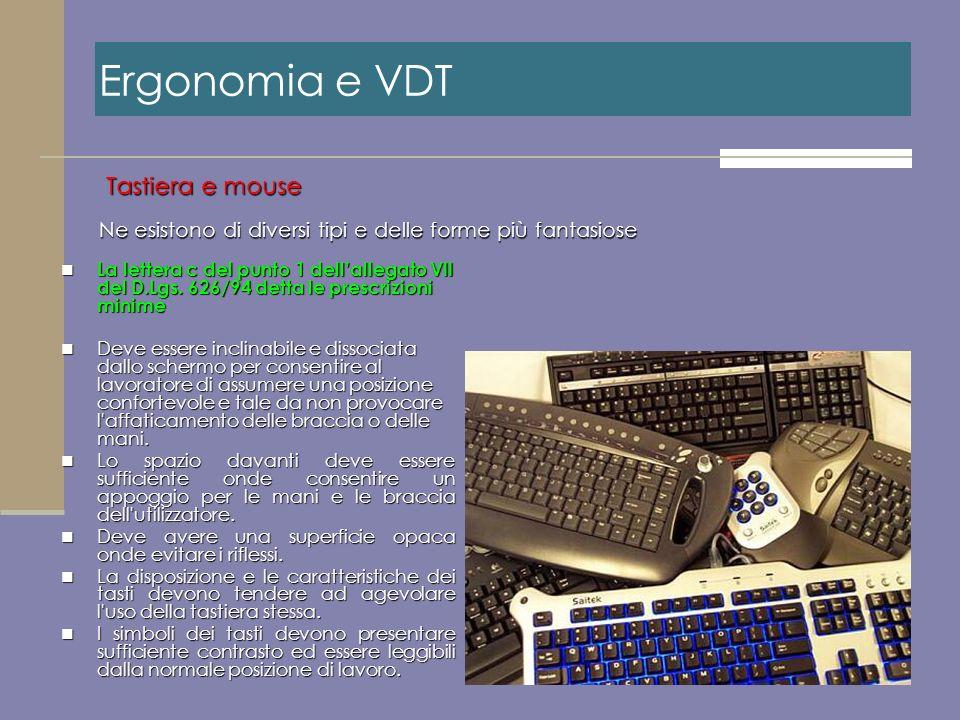 Ergonomia e VDT Tastiera e mouse