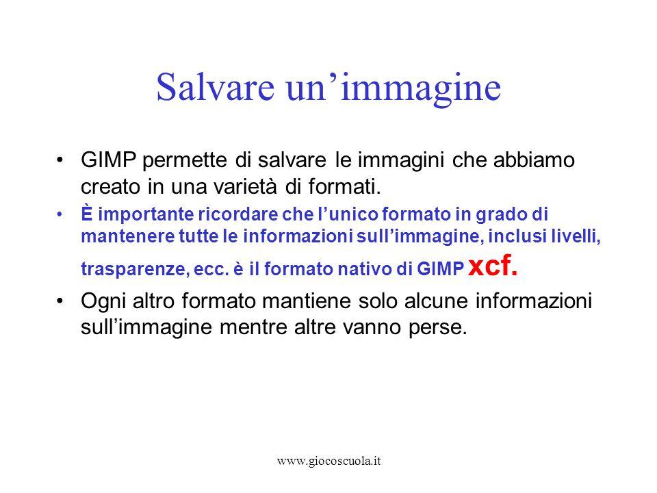 Salvare un'immagine GIMP permette di salvare le immagini che abbiamo creato in una varietà di formati.
