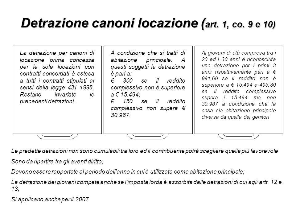 Detrazione canoni locazione (art. 1, co. 9 e 10)