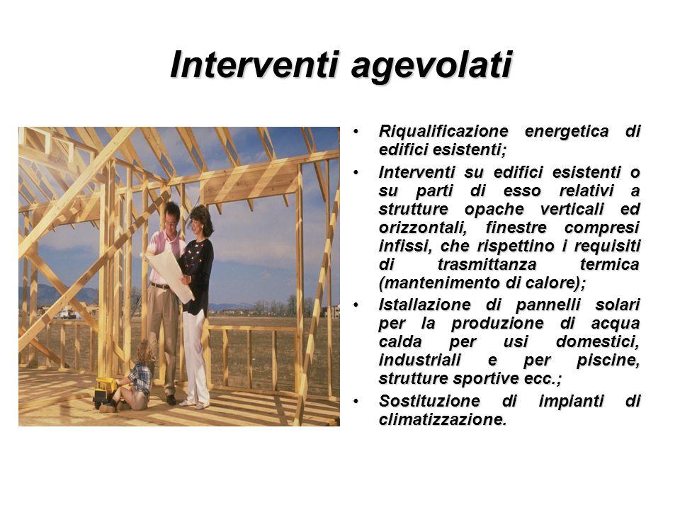 Interventi agevolati Riqualificazione energetica di edifici esistenti;