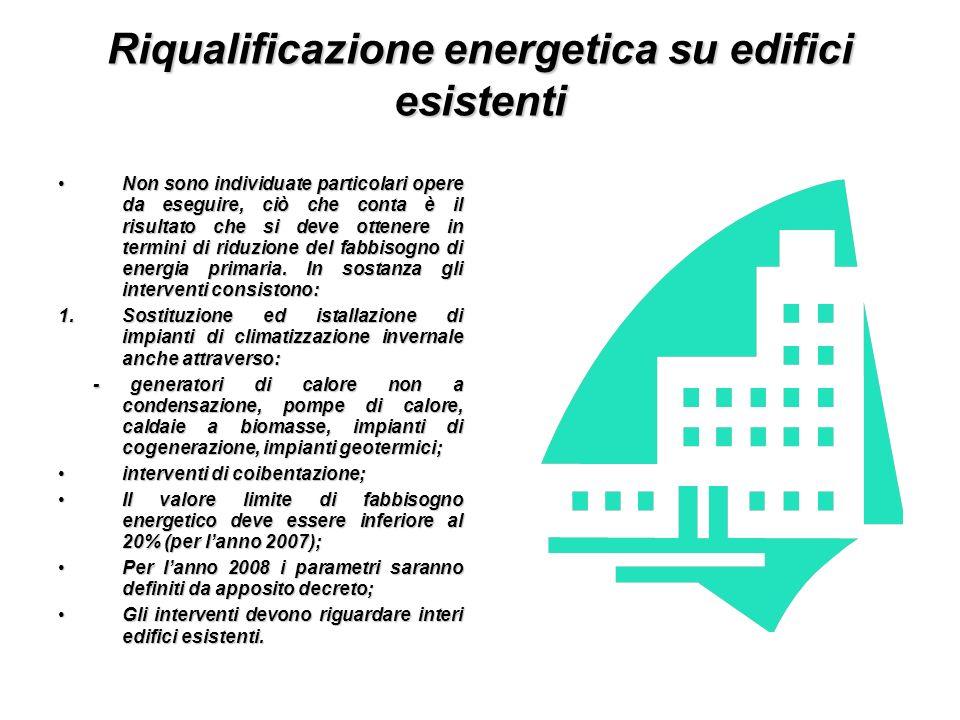 Riqualificazione energetica su edifici esistenti