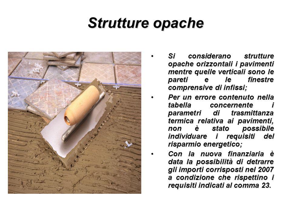 Strutture opache Si considerano strutture opache orizzontali i pavimenti mentre quelle verticali sono le pareti e le finestre comprensive di infissi;