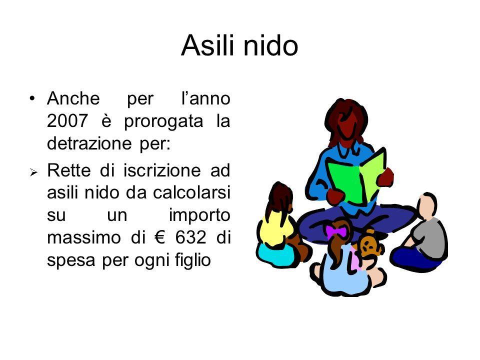 Asili nido Anche per l'anno 2007 è prorogata la detrazione per: