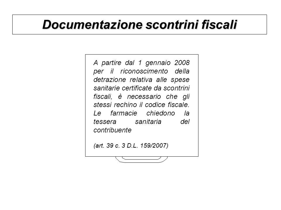 Documentazione scontrini fiscali