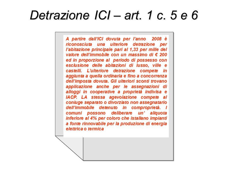 Detrazione ICI – art. 1 c. 5 e 6