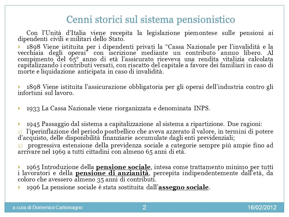 Cenni storici sul sistema pensionistico