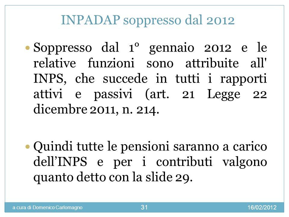 INPADAP soppresso dal 2012