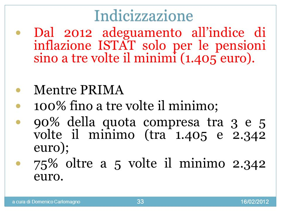 Indicizzazione Dal 2012 adeguamento all'indice di inflazione ISTAT solo per le pensioni sino a tre volte il minimi (1.405 euro).