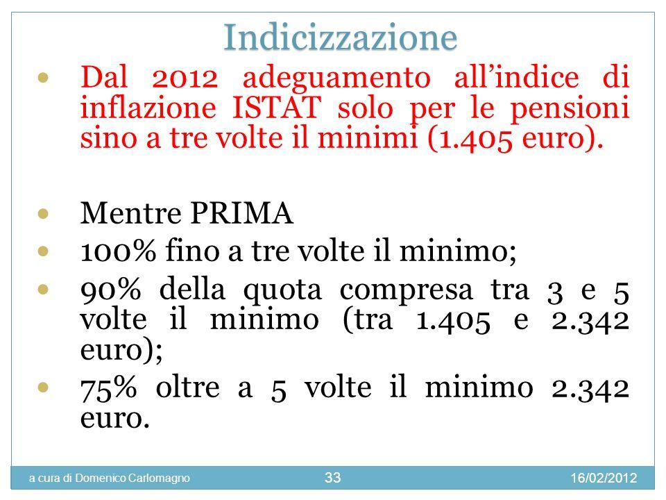 IndicizzazioneDal 2012 adeguamento all'indice di inflazione ISTAT solo per le pensioni sino a tre volte il minimi (1.405 euro).