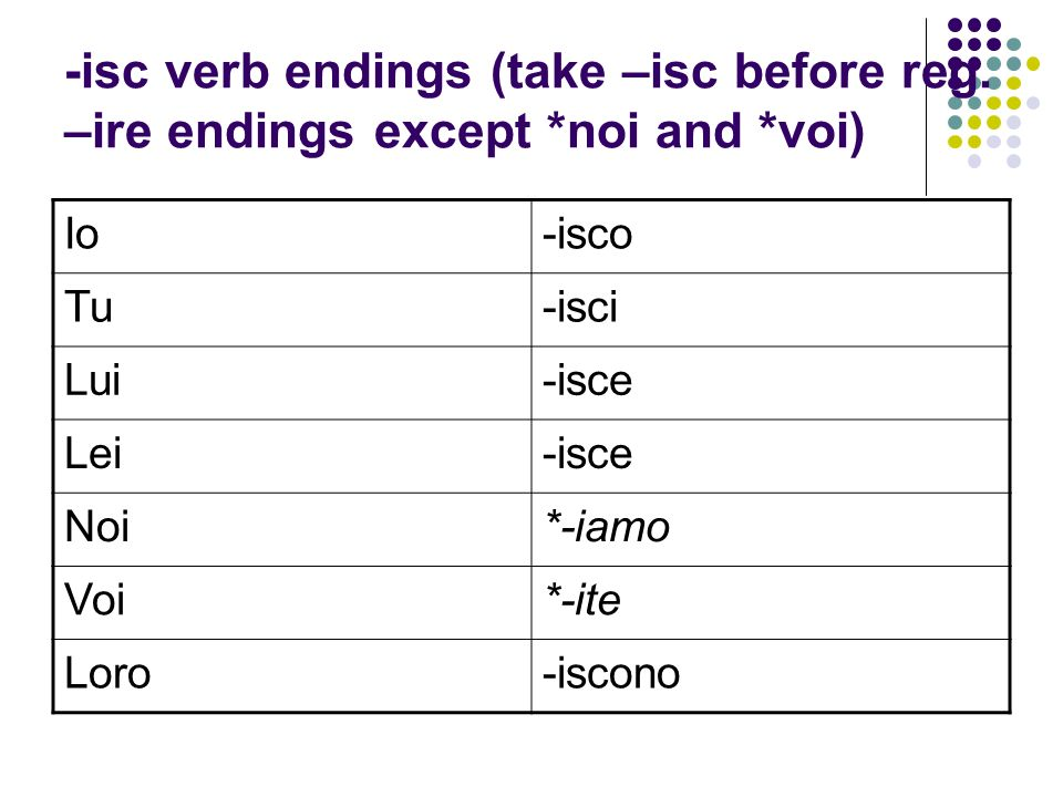 -isc verb endings (take –isc before reg. –ire endings except. noi and